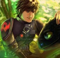 Hiccup and Toothless by Kureenbean
