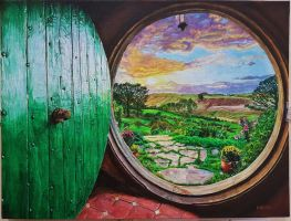 Bag End - acrylic painting by Adnaurian
