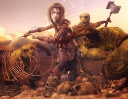 Tiger Girl vs. Lizard-Men, Fantasy Woman 3D-Art by shibashake