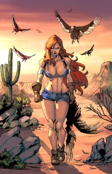 Red Sonja  hunting vultures color by logicfun