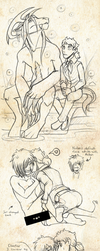 The Doctor's Beast AU doodles by AbnormallyNice