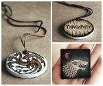 Game of Thrones handmade pyrography necklace by Aijoku