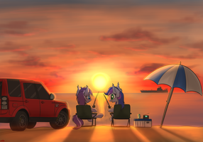 Beach in the fall evening by orang111
