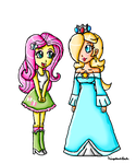 Fluttershy and Rosalina by ninpeachlover