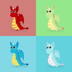 Colorful Dragons by CreativityLazy