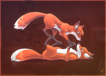 Foxes in Love by thazumi