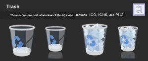 Trash Windows icons flat colors by dtafalonso
