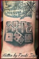 Custom Lettering and Dice Tattoo by Enoki Soju by enokisoju