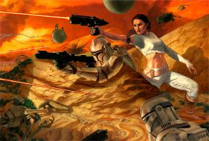 Star Wars: Padme Escapes by gallegosart-com