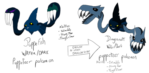 Fakemon Concept: Puppefish Family by IvainLight