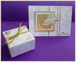 Golden Fish and Pearl Mother's Day Card by Sarahorsomeone