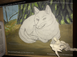 Old Fox WIP / Painting / Artwork + Fox Sculp(READ) by WonderlandTrades