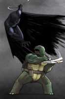 Batman vs. Mikey - color by angryzenmaster