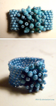 Blue + Aqua Beaded Ring by M41-Ty