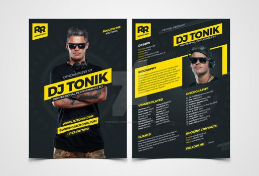 ProDJ - DJ Press Kit / Rider / Resume PSD Template by iamvinyljunkie