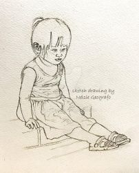 Little Girl Sitting on a Curb by aeonsiege