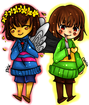 Frisk and Chara - Illustration by rcg2005