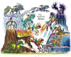 Elemental Horses - colored by Diana-Huang