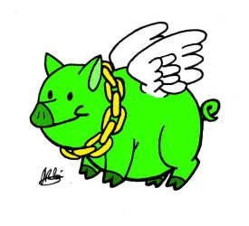 Bling-Bling the Magical Flying Green Pig by Goh