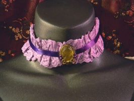 Purple Lace and Green Cameo Choker by MorganCrone
