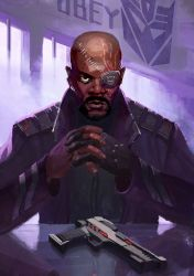 Nick Fury as Shockwave by Naihaan