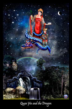 Quan Yin and the Dragon by LilipilySpirit