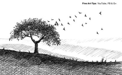 How to Draw a Tree and Birds With Fountain Pen by ArtistLeonardo