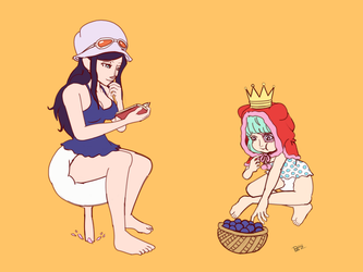 One Piece Diapered - Nico Robin and Sugar by downloadfriends