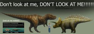 T-Rex and Triceratops Size DON'T LOOK AT ME!!!!! by Harry-the-Fox