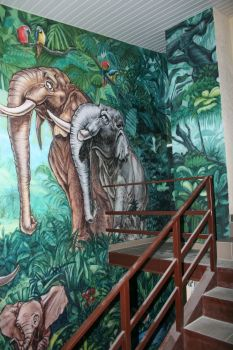 jungle elephant family mural1 by hotabych