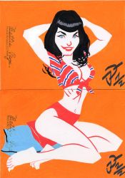 Betty Page Sketchcards by sobad-jee