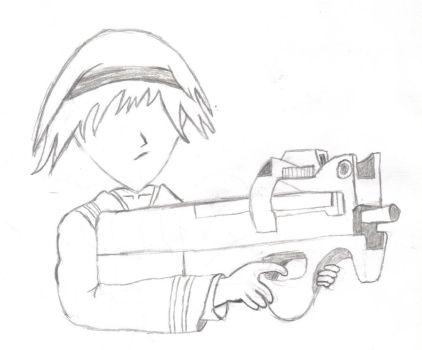 Kid with a gun. by phyconinja
