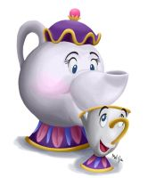 All Hearts - Mrs. Potts and Chip by LynxGriffin