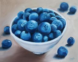 Blueberries in a White Bowl by justanothercreator
