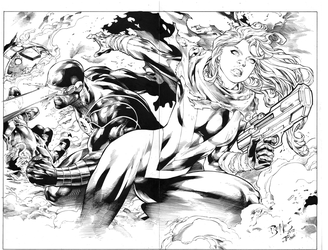 Inks on Ed Benes Pin-Up by JPMayer
