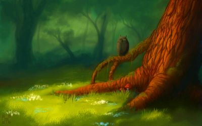 Forest and owl =) by Terafima
