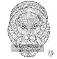 Mountain Gorilla (The Exotic Colouring Book) by megcowley