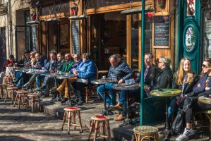 Paris the city of lights -sunny morning on cafe by Rikitza