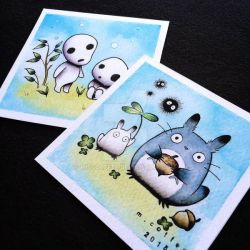 Totoro and Kodama Tattoo Prints by Michelle Coffee by misscoffee