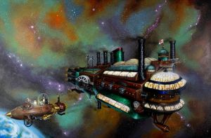 Victorian spaceship. steam-punk style. Micky Betts by Mixta110