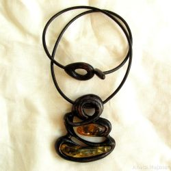 Amber and Wood - necklace 1532 by AmberSculpture