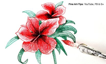 How to Use a Glass Dip Pen Draw a Hibiscus by ArtistLeonardo