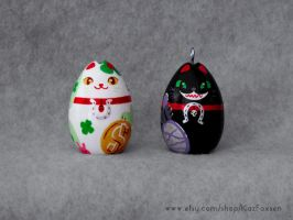 Western Lucky and Unlucky Cat Figure/Ornament Etsy by KazFoxsen