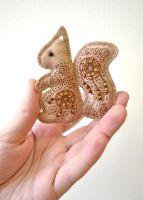 Golden Autumn Squirrel embroidered felt brooch 2 by Ailinn-Lein