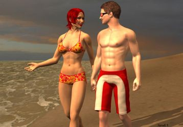Mindy and John at the Beach by hotrod5