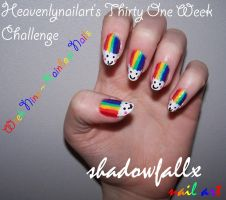 Week Nine - Rainbow Nails by shadowfallx