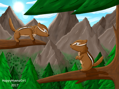 Chipmunks by HappyHyenaGirl