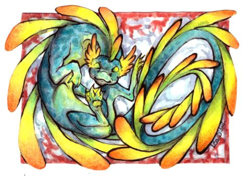 ACEO Trade - Water Dragon by LeoDragonsWorks