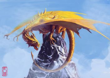 Dragon on a mountain peak by MrHarp