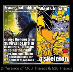 Difference of MCU Thanos and 616 Thanos by KeybladeMagicDan